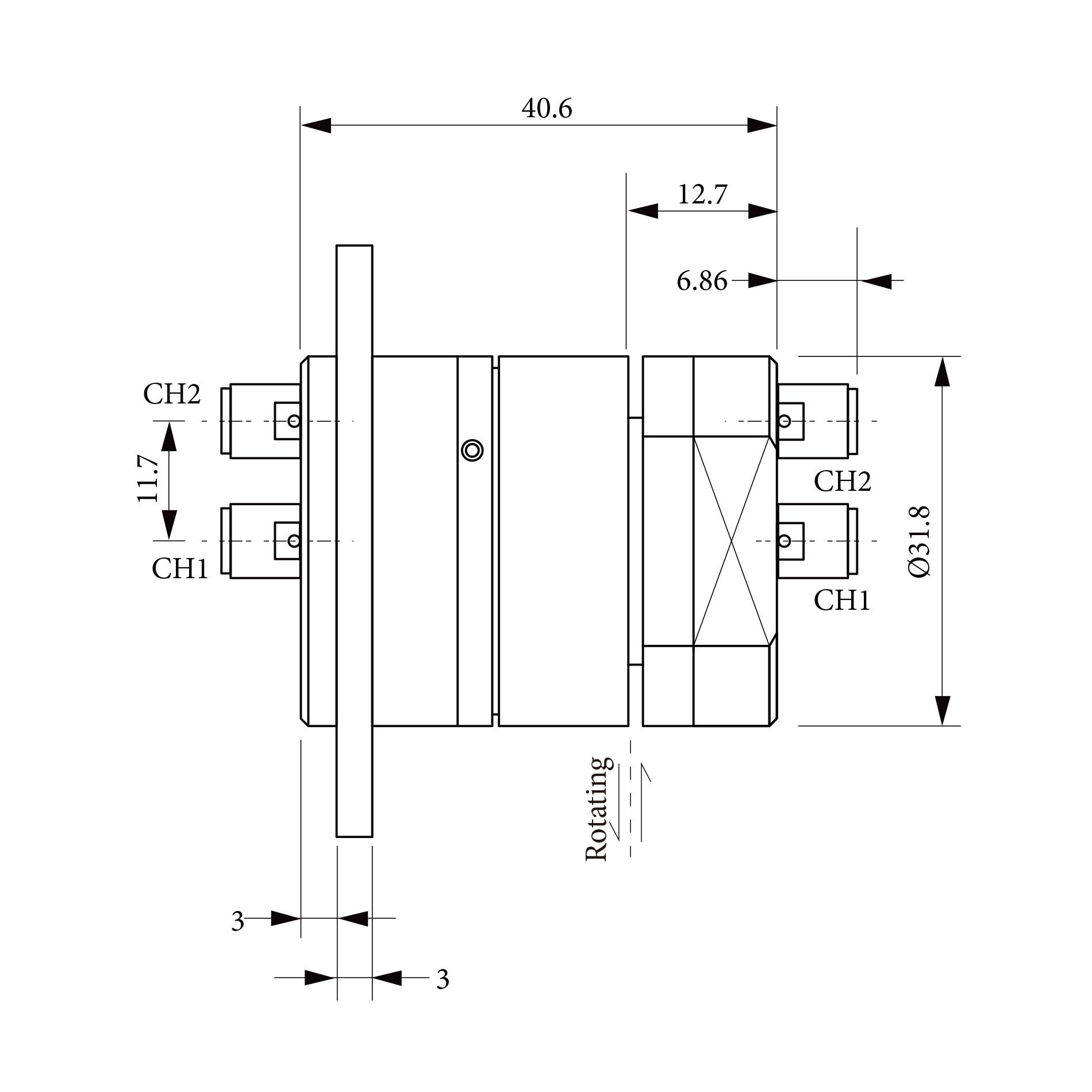 双路同轴旋转关节RJ518222 1CH:DC to 18 GHz   2CH:DC to 2 GHz   2  to 4 GHz